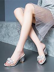 Недорогие -Жен. Обувь Свиная кожа Лето Туфли лодочки Сандалии На толстом каблуке Открытый мыс Стразы Серебряный