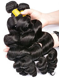cheap -Peruvian Hair Loose Wave Gifts / Natural Color Hair Weaves / Tea Party Favors 4 Bundles 8-28 inch Human Hair Weaves Gift / Hot Sale / Fashion Natural Black Human Hair Extensions Women's