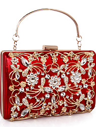 cheap -Women's Bags Leather / Alloy Evening Bag Crystals / Hollow-out Red / Purple / Fuchsia