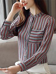 preiswerte -Damen Gestreift - Retro / Grundlegend Bluse Quaste