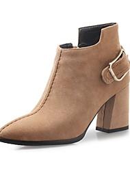 baratos -Mulheres Sapatos Camurça Outono & inverno Curta / Ankle Botas Salto Robusto Dedo Apontado Botas Curtas / Ankle Preto / Amarelo / Amêndoa