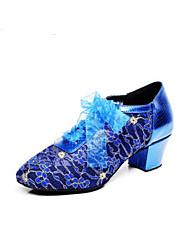 baratos -Mulheres Sapatos de Swing Couro Ecológico Salto Salto Grosso Sapatos de Dança Preto / Azul / Ensaio / Prática