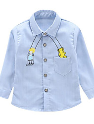 economico -Bambino Da ragazzo Blu e bianco Tinta unita Manica corta T-shirt
