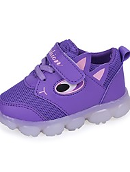 cheap -Girls' Shoes Mesh / PU(Polyurethane) Spring & Summer Comfort Athletic Shoes Walking Shoes Magic Tape / LED for Kids Purple / Red / Pink