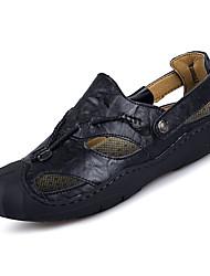 Недорогие -Муж. Кожа Лето Удобная обувь Сандалии Черный / Коричневый / Хаки