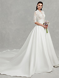 cheap -Princess Scoop Neck Cathedral Train Lace / Satin Made-To-Measure Wedding Dresses with Beading / Appliques by LAN TING BRIDE® / Beautiful Back