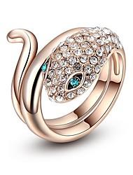 abordables -Mujer Zirconia Cúbica 3D / Serpiente Anillo - Rosa Oro Plateado Serpiente 6 / 7 / 8 Oro Rosa Para Calle / Discoteca