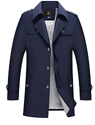 cheap -Men's Vintage Trench Coat - Solid Colored, Oversized