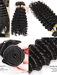 cheap -Malaysian Hair Deep Wave Gifts / Natural Color Hair Weaves / Tea Party Favors 4 Bundles 8-28 inch Human Hair Weaves Creative / Hot Sale / For Black Women Natural Black Human Hair Extensions Women's