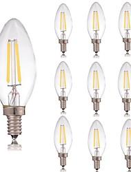 Недорогие -10 шт. 2 W 180 lm E14 LED лампы накаливания C35 2 Светодиодные бусины COB Декоративная Тёплый белый / Холодный белый 220-240 V