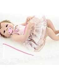 Недорогие -NPKCOLLECTION Куклы реборн Девочки 24 дюймовый Полный силикон для тела Винил - как живой Очаровательный Искусственная имплантация Коричневые глаза Детские Девочки Игрушки Подарок