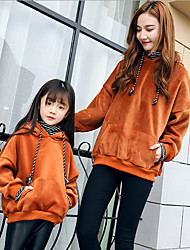 cheap -Mommy and Me Solid Colored Long Sleeve Hoodie & Sweatshirt