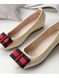 abordables -Femme Chaussures Polyuréthane Printemps Confort Ballerines Talon Plat Noir / Amande