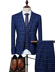 cheap -Men's Plus Size Suits-Plaid Peaked Lapel / Long Sleeve