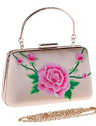 baratos -Mulheres Bolsas Poliéster / Liga Bolsa de Festa Bordado / Flor Floral Vermelho / Rosa / Amêndoa