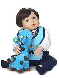 Недорогие -NPKCOLLECTION Куклы реборн Мальчики 24 дюймовый Полный силикон для тела / Винил - Искусственные имплантации Голубые глаза Детские Мальчики Подарок
