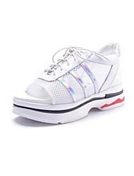 abordables -Femme Chaussures Cuir Nappa Printemps Confort Ballerines Talon Bas Bout ouvert Blanc / Noir