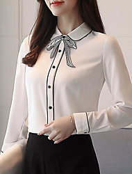 cheap -Women's Vintage / Basic Blouse - Solid Colored Bow / Tassel