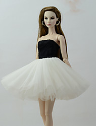 cheap -Dresses Dress For Barbie Doll Balck+white Tulle / Lace / Silk / Cotton Blend Dress For Girl's Doll Toy