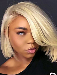 cheap -Remy Human Hair Lace Front Wig Wig Brazilian Hair Straight Bob Haircut 130% Density With Baby Hair / Silky / Women Blonde Women's Short Human Hair Lace Wig / Natural Hairline