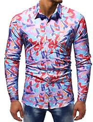 Недорогие -Муж. С принтом Рубашка Хлопок Тонкие Классический Контрастных цветов / Длинный рукав