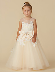 cheap -Ball Gown Tea Length Flower Girl Dress - Lace / Tulle Sleeveless Jewel Neck with Beading / Bow(s) by LAN TING BRIDE®