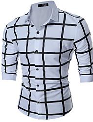 baratos -Homens Camisa Social Básico Estampado, Xadrez