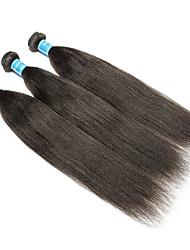 baratos -3 pacotes Cabelo Brasileiro / Cabelo Peruviano Yaki Liso Cabelo Virgem Tecer 8-30 polegada Tramas de cabelo humano Fabrico à Máquina Melhor qualidade / 100% Virgem Natural Extensões de cabelo humano