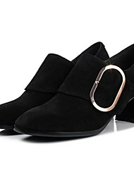 Недорогие -Жен. Замша Осень Удобная обувь / Туфли лодочки Обувь на каблуках Для прогулок На толстом каблуке Квадратный носок Черный / Винный / Повседневные