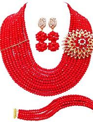 Недорогие -Жен. Многослойность Комплект ювелирных изделий - Австрийские кристаллы MOON Мода Включают Струнные ожерелья Розовый / Ярко-розовый / Светло-коричневый Назначение Свадьба