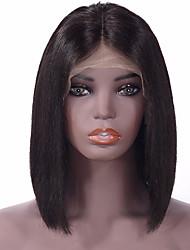 Недорогие -Натуральные волосы Лента спереди Парик Стрижка боб Kardashian стиль Индийские волосы Прямой Природа Черный Парик 130% Плотность волос 8-14 дюймовый / с детскими волосами / с детскими волосами