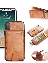 Недорогие -Кейс для Назначение Apple iPhone X / iPhone 8 Pluss / iPhone 8 Кошелек / Бумажник для карт / со стендом Чехол Однотонный Твердый Кожа PU