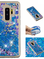 ieftine -Maska Pentru Samsung Galaxy S9 Plus / S9 Scurgere Lichid / Model / Luciu Strălucire Capac Spate Fluture / Luciu Strălucire Moale TPU pentru S9 / S9 Plus / S8 Plus