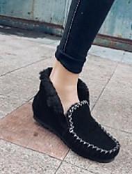abordables -Femme Chaussures Daim Automne hiver Confort Mocassins et Chaussons+D6148 Talon Plat Noir / Rose