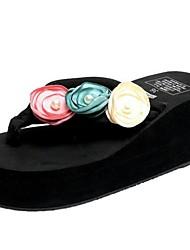 Недорогие -Жен. Обувь Замша Весна С Т-образной перепонкой Сандалии На плоской подошве Открытый мыс Черный / Синий / Розовый