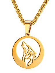cheap -Men's Rope Pendant Necklace - Stainless Steel Animal, Wolf Fashion Gold, Silver 55 cm Necklace Jewelry 1pc For Gift, Daily