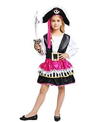 Недорогие -Пираты Костюм Девочки Подростки Хэллоуин Хэллоуин Карнавал День детей Фестиваль / праздник Инвентарь Черный Однотонный Halloween