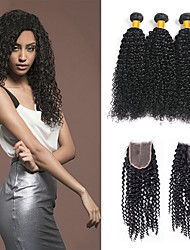 cheap -3 Bundles with Closure Indian Hair Kinky Curly Unprocessed Human Hair / Human Hair Natural Color Hair Weaves / Hair Bulk / Tea Party Favors / Costume Accessories 8-20 inch Natural Color Human Hair