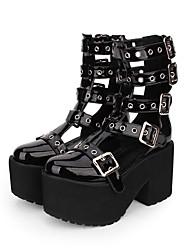 cheap -Lolita Shoes Gothic Lolita Dress Punk Lolita Dress Punk Gothic Wedge Heel Shoes Solid Color 10 cm CM Black For PU(Polyurethane) Halloween Costumes