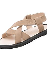 povoljno -Žene Cipele PU Ljeto Udobne cipele Sandale Ravna potpetica Okrugli Toe Crn / Badem