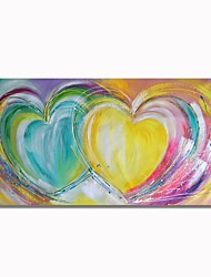 cheap -STYLEDECOR Modern Hand Painted Abstract Double Colorful Love on Canvas Oil Painting for Wall Art