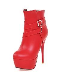 Недорогие -Жен. Обувь Полиуретан Наступила зима Модная обувь Ботинки На шпильке Круглый носок Ботинки Черный / Бежевый / Красный