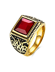 cheap -Men's Sculpture 3D Band Ring Statement Ring - Titanium Steel Vintage, Punk 9 / 10 Black / Red For Daily Holiday