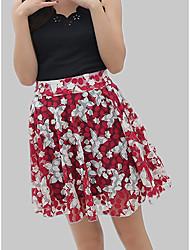 cheap -Women's Cotton A Line Skirts - Floral / Geometric Print / Spring / Summer
