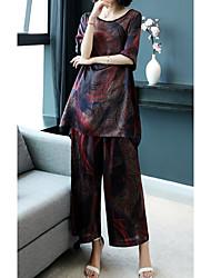abordables -Mujer Noche Conjunto - Geométrico Escote en U Pantalón