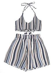 cheap -Women's Basic Short Tank Top - Striped / Color Block, Print Pant Strap / Summer
