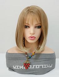 Недорогие -Парики из искусственных волос Прямой Стрижка боб Искусственные волосы Middle Length Женский / Волосы с окрашиванием омбре / С Bangs Черный Парик Жен. Средняя длина Без шапочки-основы Блондинка