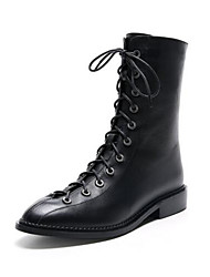 cheap -Women's Shoes Nappa Leather Spring Fashion Boots Boots Block Heel Round Toe Booties / Ankle Boots Black / Party & Evening