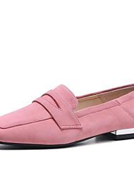 baratos -Mulheres Sapatos Camurça Primavera / Verão Mocassim Mocassins e Slip-Ons Salto Baixo Ponta quadrada Preto / Marron / Rosa claro