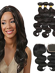 cheap -Malaysian Hair Body Wave Natural Color Hair Weaves / Tea Party Favors / Costume Accessories 3 Bundles With  Closure 8-20 inch Human Hair Weaves 4x4 Closure Soft / Best Quality / New Arrival Dark Black